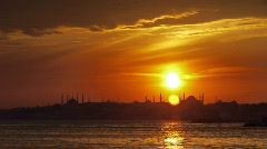 City sunset sea coast mosque istanbul Stock Footage