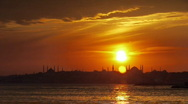 Stock Video Footage of city sunset sea coast mosque istanbul