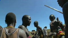 Masai warriors perform a ritual dance in Kenya, Africa. Stock Footage