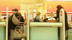 Food store checkout in Poland Stock Footage