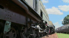 Old trains sit abandoned in a railyard in this time lapse shot. Stock Footage