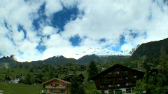 T/lapse over Swiss Mountain Resort Stock Footage