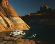 Houseboat on a desert lake Stock Footage