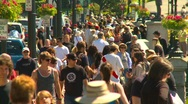 Stock Video Footage of people, crowds of people walking, nice sunny day, #1