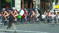 Naked bicycle protest (some nudity) Stock Footage