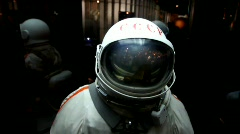 Spacesuit in display in The Memorial Museum of Cosmonautics Stock Footage