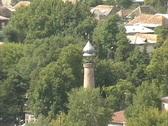 Azerbaijan Minaret in valley town Stock Footage