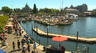 People on the inner harbor, Victoria BC time lapse, summer day Stock Footage