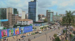 Busy street scene in Nairobi, Kenya. Stock Footage