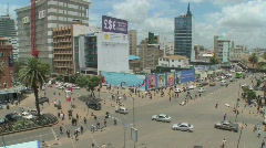 Wide angle view of busy streets in Nairobi, Kenya. - stock footage