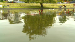 Model ship in pond, #1 Stock Footage