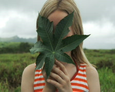 Girl holding a leaf in front of her face Stock Footage