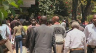 Crowds of people walk on the streets of Nairobi, Kenya. Stock Footage