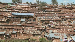 View over a rundown slum in Nairobi, Kenya. Stock Footage