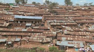 Stock Video Footage of View over a rundown slum in Nairobi, Kenya.