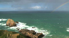 Catlins, New-Zealand, nugget point, rainbow Stock Footage