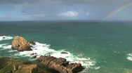 Stock Video Footage of Catlins, New-Zealand, nugget point, rainbow