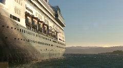 Maritime transportation. cruise ship anchored and strong wind Stock Footage