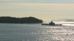 maritime transportation. silhoutte ferry wide shot - stock footage