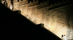 Night family on rock steps P HD 1030 Stock Footage