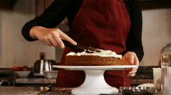 woman frosting a cake - stock footage