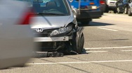 Auto accident, bumper clipped Stock Footage