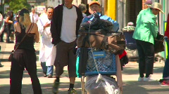 Vancouver eastend people shopping cart, #1 Stock Footage