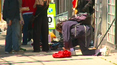 Homeless man and $50million lotto sign, concept Stock Footage