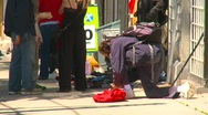 Stock Video Footage of Homeless man and $50million lotto sign, concept