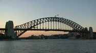 Stock Video Footage of Sydney harbor bridge evening