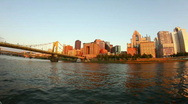 Pittsburgh Skyline at Dusk Wide Angle Stock Footage