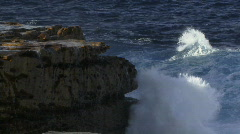Ocean Waves Smashing into Cliff Face Spectacular Spray - stock footage