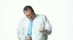 Businessman playing the air guitar Stock Footage