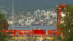 Maritime transportation, tug barge and container port Stock Footage