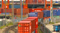Stock Video Footage of railroad, freight train, container train, overhead shot, #6
