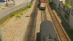 container train backing into tanker, loud crunch - stock footage
