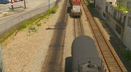 Stock Video Footage of container train backing into tanker, loud crunch
