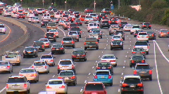 Heavy rush hour traffic in Los Angeles Stock Footage