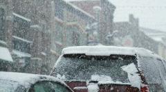 Snowstorm in park city, utah Stock Footage