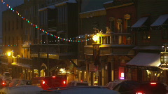 Streets of park city, utah at night Stock Footage