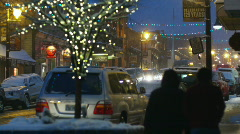Streets of park city at night Stock Footage