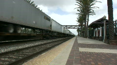 Intermodal Freight Train Passes Thru Station Stock Footage
