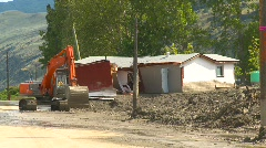 Natural disaster, mudslide wrecked home Stock Footage