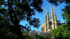 Spires of Sagrada Familia Church Stock Footage