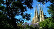 Stock Video Footage of Spires of Sagrada Familia Church