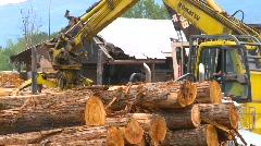Log skidders at log mill Stock Footage