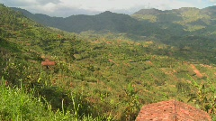 Panning shot across the lush tropical countryside of Rwanda. Stock Footage