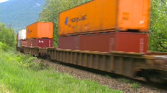 Stock Video Footage of railroad, freight train, container train on s-turn, #3