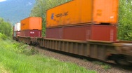 Railroad, freight train, container train on s-turn, #3 Stock Footage