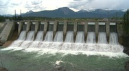 Stock Video Footage of dam spillway Seebe, #3 head on wide